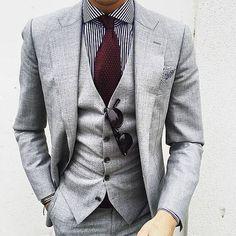 2017 Fall Autumn Light Gray Mens Wedding Prom Dinner Suits 3 Piece Groom Tuxedos (Jacket+Pants+Vest) blazer masculino terno