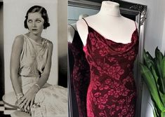 1920s Fashion Dresses, 1930s Fashion, Vintage Dresses, Boho Fashion, Bias Cut Dress, Wine Dress, Red Velvet Dress, Gatsby Dress, Cowl Neck Dress