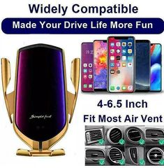 Automatic Clamping Qi Wireless Car Charger Mount Air Vent Cell Phone Holder | G-mart Charger Holder, Car Holder, Phone Charger, Air Vent, Cell Phone Holder, Car Mount, Smartphone, Iphone, Sons