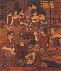 Ismail Mat Hussin, A Mak Yong Performance, Batik, 1979 Kuala Lumpur Malaysian Batik, Southeast Asian Arts, Indonesian Art, Javanese, Asian History, Kuala Lumpur, Art Forms, Photo Art, Sea