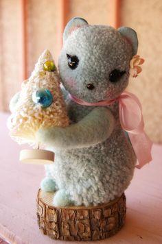 Aqua Blue Woolen Pom Pom Christmas Chipmunk by MykoBocekStudios