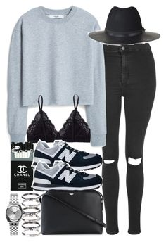 """""""Untitled #3097"""" by hellomissapple ❤ liked on Polyvore featuring Topshop, MANGO, Talula, New Balance, The Row, M.N.G, Nixon and The Kooples"""