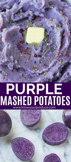 Purple Mashed Potatoes vegetarian side dish recipe - Know Your Produce - Purple Sweet Potatoes, Cheesy Potatoes, Baked Potatoes, Purple Potato Recipes, Mashed Potato Recipes, Veggie Recipes Healthy, Vegetable Recipes, Delicious Recipes, Dining