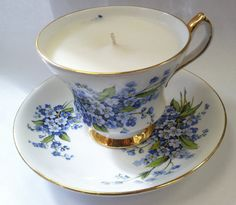 Royal Windsor Forget Me Not Tea Cup Candle  by ReclamationCandleCo, $24.00