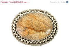 Big Sale Now Vintage Chinese Export Sterling Silver & Dinosaur Bone Pendant Brooch Large Size
