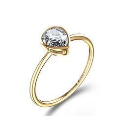 Bezel Set Pear-Shaped Diamond Engagement Ring in 14k Yellow Gold