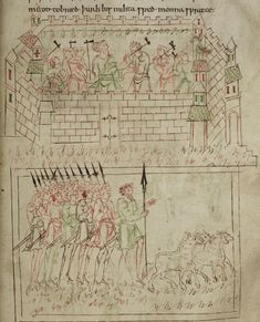 Eber and his men drive cattle and found a city, the 'Caedmon manuscript', Anglo-Saxon, c.1000