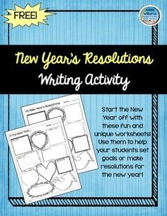 New Year's 2020 - Writing, Resolutions and Goals 7th Grade Ela, 2nd Grade Writing, Middle School Writing, Third Grade, New Years Activities, Holiday Activities, Writing Activities, New Years Eve Day, Free Doodles