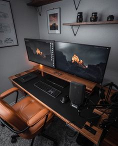 Computer Desk Setup, Gaming Room Setup, Pc Setup, Computer Rooms, Home Office Setup, Home Office Design, Basement Office, Office Designs, Small Game Rooms