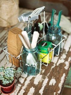 A vintage milk bottle carrier holds seed-starting supplies. A trio of blue canning jars holds row makers, felt-tip pens, and clippers. Peat pots, fertilizer, and hand tools also have a place in the carrier! Love this seed starter area! Old Milk Bottles, Vintage Milk Bottles, Shed Organization, Shed Storage, Storage Ideas, Tool Storage, Yard Tools, Potting Sheds, Potting Benches