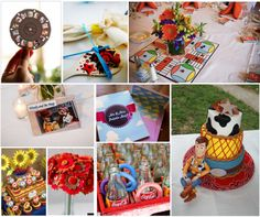 Toy Story Themed Wedding Inspiration Board | Simply Inspirational. Little Green Men (LGMs) on either the centerpieces or the place cards A cake with alternating cowboy and space ranger patterns Jessie and Buzz cake topper