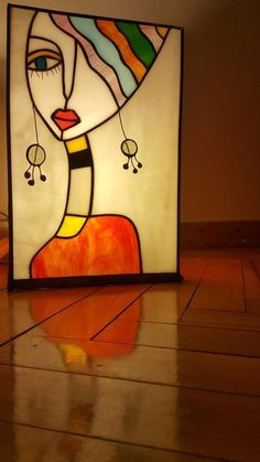 Items similar to Stained Glass Lamp Tiffany Table Square on Etsy - Malerei Cubist Art, Cubism, Glass Painting Designs, Abstract Face Art, Indian Art Paintings, Oil Paintings, Mosaic Art, Watercolor Art, Modern Art