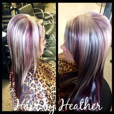 Heavy blond highlight with dark brown and violet lowlights