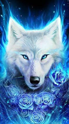 Artwork Lobo, Wolf Artwork, Phoenix Artwork, Phoenix Images, Tiger Artwork, Fantasy Artwork, Ice Wolf Wallpaper, Animal Wallpaper, Wallpaper Space