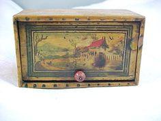 Antique Painted Tunbridge Ware Miniature Sewing Box, Naive House, 2 of 4; Circa 1800