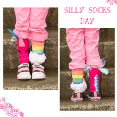Silly Socks Day at school. I wanted to share these I made since I couldn't find any like them. A really crafty person could probably make them super cute. Unicorns and rainbows socks. Crazy, fun socks for kids. Silly Socks Day at school. Wacky Socks, Silly Socks, Funny Socks, Crazy Socks, Crazy Hat Day, Crazy School Day, Fun Socks For Kids, Spirit Day Ideas, School Spirit Days