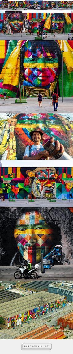 eduardo kobra paints 3,000 square meter mural for the rio olympics - created via https://pinthemall.net