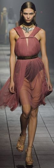 LANVIN RTW SS 2012 | muted pink | cut-out flowy chiffon dress
