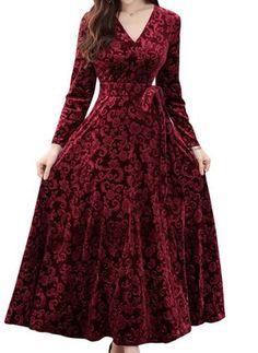 Buy Women's Aline Dress Stylish Casual V Neck Dress & Regular Dresses - at Jolly Chic Stylish Dress Designs, Stylish Dresses, Modest Dresses, Simple Dresses, Fashion Dresses, Velvet Dress Designs, Dress Neck Designs, Velvet Bridesmaid Dresses, Pakistani Dresses Casual