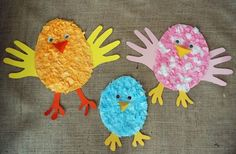 Easy Easter Craft for Kids using Tissue Paper and Construction Paper Handprints - Fun idea for preschoolers
