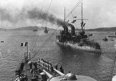 "WWI — French battleship ""Bouvet"" http://historiatodas.blogspot.com.br/"