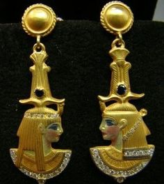 AMAZING 18k gold enameled Egyptian style earrings with by Xidni