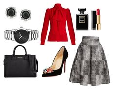 """""""Fiery red and black combo"""" by sunshynemoh on Polyvore featuring Sonia Rykiel, Rumour London, Christian Louboutin, Mark Broumand, Karl Lagerfeld, Gucci and Chanel"""