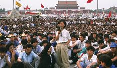 In this image of Chinese students demonstrating at Tiananmen Square, student movement leader, Chai Ling, speaks to the crowd, Beijing, China, May 28, 1989.  Photo credit: Chip HIRES/Gamma-Rapho Army Pics, Types Of Humor, One Word Art, R Image, The Future Is Now, R Dogs, Digital Text, R Memes, Your Teacher