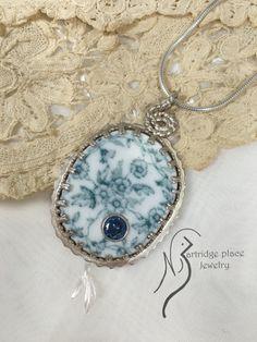 broken china jewelry Astra flower vintage by Partridgepljewelry