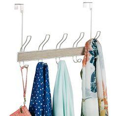 InterDesign® RealWood 10 Hook Over The Door Rack In Gray/Satin