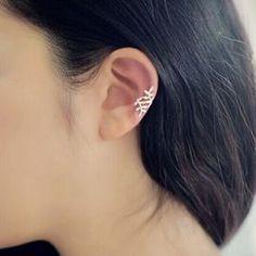 Paire Boucles D'oreilles Clip Cartilage Style Feuille Bijoux Mode Femme Dorée - Ebtek