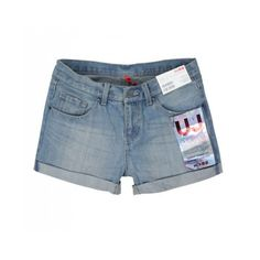 Women Washed Casual Simplest Cotton Hemming Light Blue Jean Short... ($15) via Polyvore