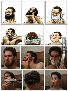 Why Bearded Men Shouldn't Shave: Confirmed! Laugh your self out with various memes that we collected around the internet. Stupid Funny Memes, The Funny, Funny Cute, Hilarious, Funny Man, Beard Humor, Man Humor, Humor Humour, Shaving Humor