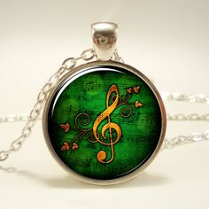 GClef Necklace Music Note Jewelry 0899S1IN by rainnua on Etsy, $14.45