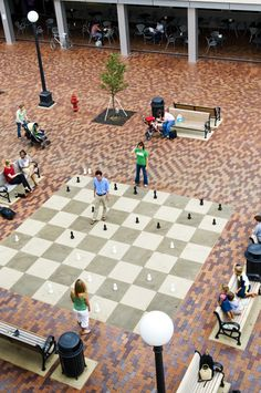 Giant chess board in the Iowa City pedestrian mall