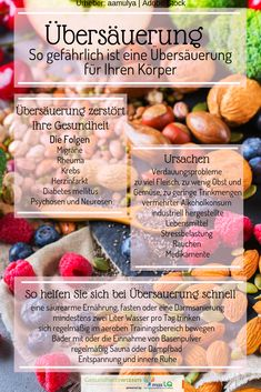 Acidification: causes, symptoms, prevention and treatment Übersäuerung: Ursachen, Symptome, Vorbeugung und Behandlung Diet And Nutrition, Health Diet, Weight Loss Detox, Weight Loss Smoothies, Healthy Diet Recipes, Healthy Tips, Smoothie Diet, Smoothie Recipes, Acid Base Balance