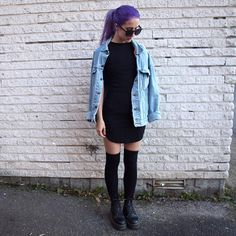 """""""Found this outfit that I haven't shown you guys yet, it's from a few weeks ago when my hair was newly dyed. I'm wearing the perfect little black dress…"""""""
