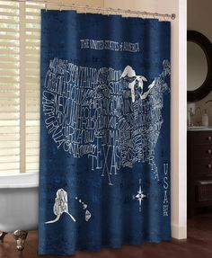 Spring Lake Shower Curtain Lakes - Hand lettered us map black and white shower curtain