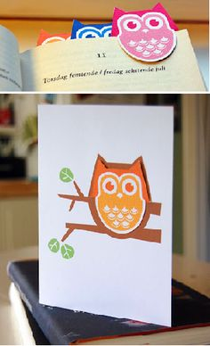 Printable Owl Bookmark and Card