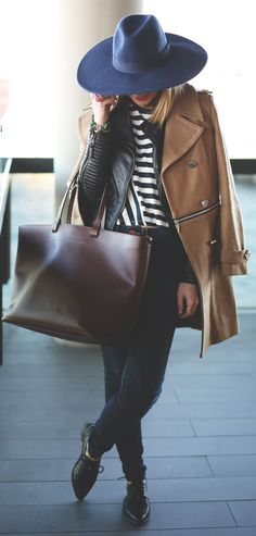 Shop this look on Lookastic: https://lookastic.com/women/looks/coat-jacket-crew-neck-t-shirt-skinny-jeans-oxford-shoes-tote-bag-hat/4112 — Navy Wool Hat — Black Leather Oxford Shoes — Navy Skinny Jeans — Dark Brown Leather Tote Bag — Brown Coat — Black Leather Jacket — White and Navy Horizontal Striped Crew-neck T-shirt