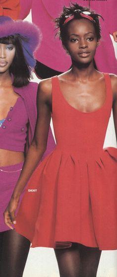 fashion show - DKNY - Fall 1994 - New York Donna Karan, Supermodels, Peplum Dress, Fashion Show, Fall Winter, Spring Summer, New York, Tops, Dresses