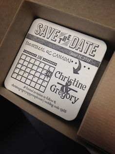 Letterpress Save the Date Coaster // Calendar by SimplyPressedPS, $50.00