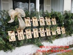 merry christmas sign for front porch with greenery
