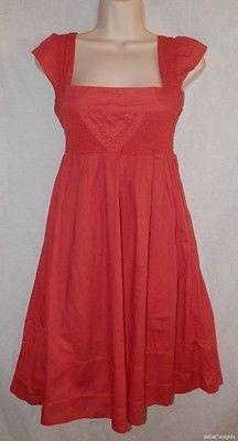 Womens Maeve Dress 0 XS Orange Short Sleeve Smocking Full Skirt Anthropologie   eBay