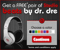 Get a FREE Pair of Studio Beats by Dr. Dre!