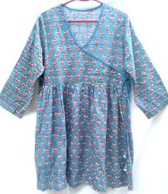 Duck Egg Blue & Coral Anokhi Floral Hand block print Indian Cotton Tunic Top M/L