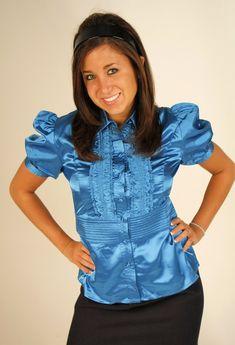 Bow Blouse, Sheer Blouse, Ruffle Blouse, Satin Blouses, Beautiful Blouses, Blue Satin, Modest Dresses, Pleated Skirt, Feminine