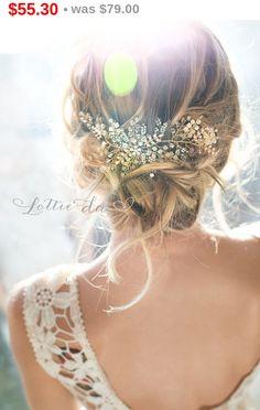 30% OFF Gold Boho Hair Headband Headpiece, Antique Gold Opal Flower Hair Crown, Hair Vine, Hair Wreath Hair Vine, Wedding Headband - 'ZOYA'