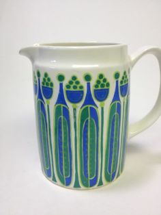 Vintage Figgjo Fajanse Turi Design Norway Granada Creamer Pitcher 1960s Blue | eBay
