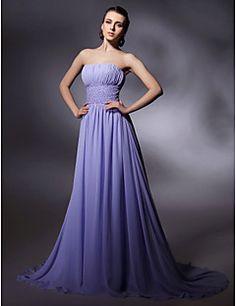 Sheath/Column Sweep/Brush Train Chiffon Evening Dress inspir... – USD $ 119.99
